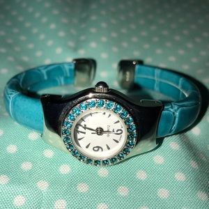 Turquoise Rhinestone Faced Bangle Watch